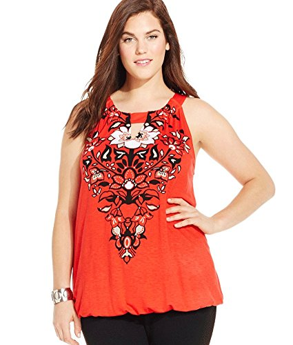 INC International Concepts Plus Size Floral-Print Blouson Halter Top (1X, Loving Red) (Inc Plus compare prices)