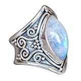 WensLTD_ Clearance! 1PC Boho Jewelry Silver Natural Gemstone Marquise Moonstone Personalized Ring