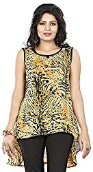Twinkal Women's Round Neck Top / Tunic (TWTP0035-38_M, Yellow, M)