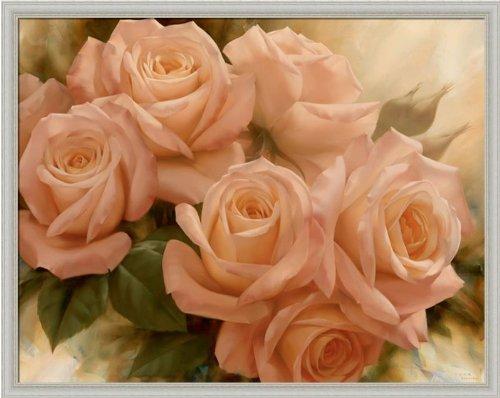 Peach Rose Splendor Ii By Igor Levashov Shabby Cottage Wall Décor Art Print Framed Picture front-1027900