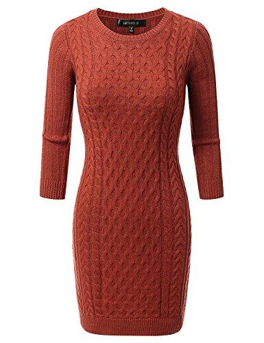 Doublju Womens 3/4 Sleeve Cable Knit Longline Tunic Sweater Dress ORANGE MEDIUM