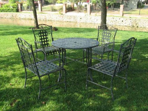 MANDALAY 5 PIECE IRON PATIO DINING SET - ROUND TABLE and 4 CHAIRS - PATIO FURNITURE