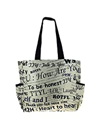 Printed Shopping Bag, 3 Pockets, Satin Lining, Zipper Closing - B015GWR6A8