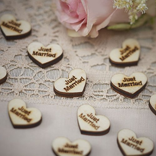Ginger Ray Vintage Affair Just Married Wooden Heart Rustic Table Party Confetti Scatter, Brown