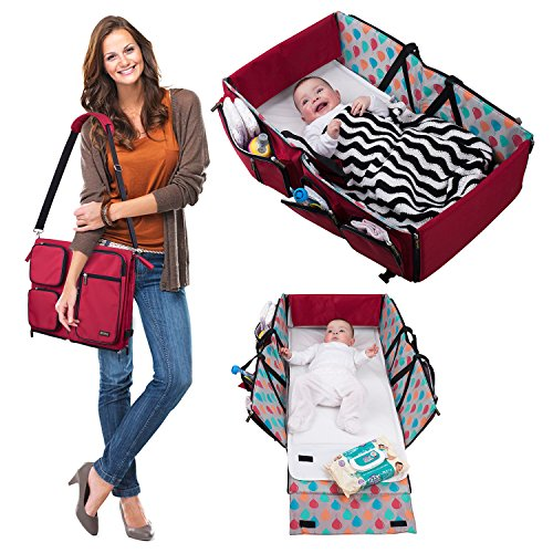 3 in 1 Diaper Bag - Travel Baby Bassinet - Change Station -Multifunction Diaper Tote Bags - Baby Travel Cot - Portable baby Crib for baby Boy or baby Girl