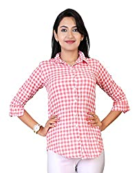 Comix Imported Cotton Fabric Elbow Sleeves Women Checks Printed Casual Shirt