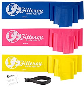 Fitteroy™ Top Quality Flat Resistance Exercise Stretch Bands Set with Door Anchor. Set Includes 3 Bands (Light, Medium, and Heavy), Door Anchor, and Illustrated Instruction Sheet. Ideal for Strength Training, Pilates, and Physical Therapy