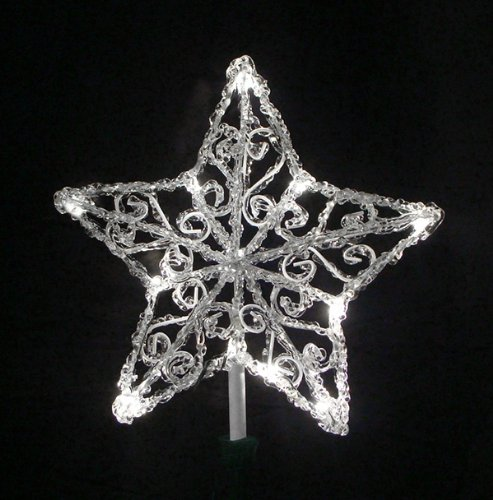 "11.5"" Lighted Icy Crystal Star Christmas Tree Topper - Candlelight Led Lights"