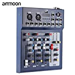 ammoon F4-USB 3 Channel Digtal Mic Line Audio Mixing Mixer Console with 48V Phantom Power for Recording DJ Stage Karaoke Music Appreciation by ammoon