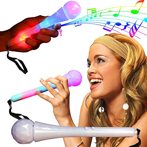 "LED Light Up Sound Activated Toy Kids Microphone 9"" Inches - 1"