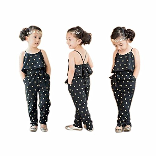 2016 Hot Fashion Toddlers Children Girls Love Heart Straps Jumpsuits by FEITONG (4T(3-4Y), Black) (Summer Toddler Clothes compare prices)