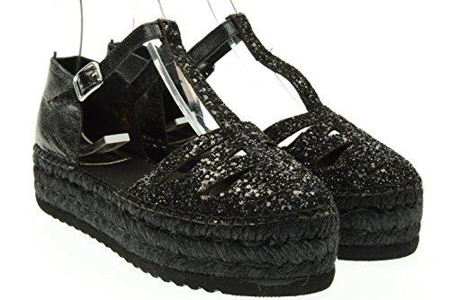 VIDORRETA donna sandali espadrillas 06500 glitter nero 39 Nero