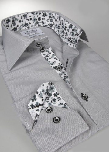 Jermyn street shirts Mens Grey Slim Fit formal Paisley Shirt - XXX-Large