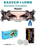 Natural Look Quarterly (3 Months) Hazel Color Zero Power Colorered Contact Lens with Free Lens Care Kit (2 Lens Pack) By Visions India.