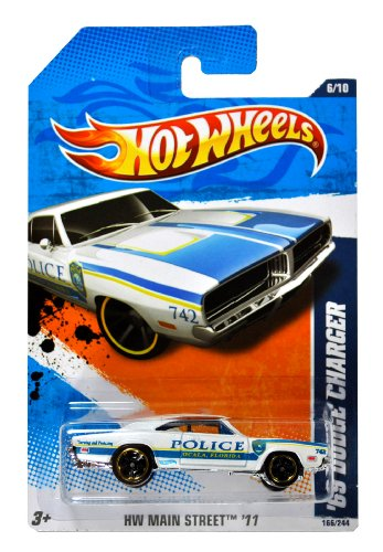 "Mattel Year 2010 Hot Wheels ""HW MAIN STREET"" Series Set (6/10) 1:64 Scale Die Cast Car (166/244) - Ocala Florida Police White Muscle Car '69 DODGE CHARGER (T9873)"