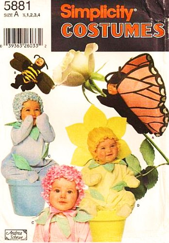 Simplicity 5881 or 7868 Toddler Butterfly Bumble Bee Flowers Costume Halloween Sewing Pattern Sizes 1/2,1,2,3,4