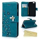 Mavis's Diary iPhone6G/iPhone6S対応ケース レザー素材 防塵 耐久性 装着やすい スタンド 手帳型 吸着の機能 胡蝶 優雅な花 ブルー