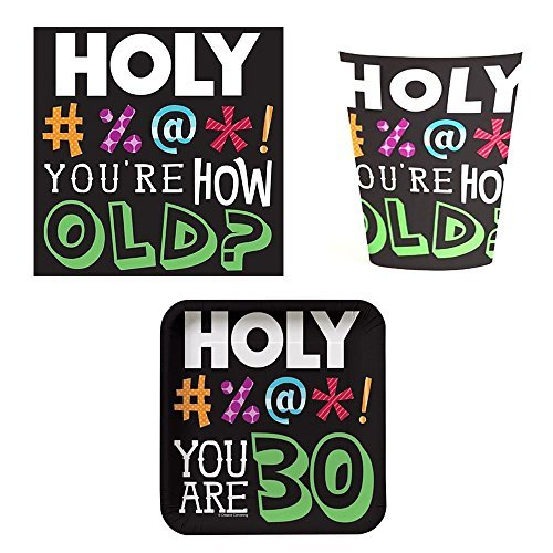 Holy Bleep 30 Tableware Pack for 16 Including Beverage Napkins (32ct), Cups (16ct) and Plates (16ct)