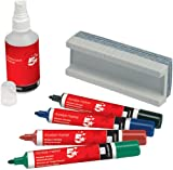 5 Star Office Drywipe Starter Kit of Drywipe Eraser and 100ml Cleaner and 4 Whiteboard Markers Assorted