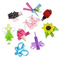 HipGirl 9pc Set Hip Girl Hair Bow Clips Ladybug Butterfly Ballet Shoes Fairy etc-One Size. In Gift Box