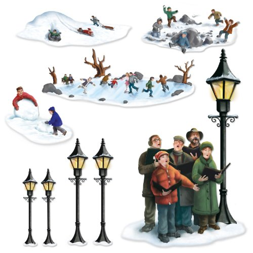 Beistle 20203 Lampposts, Carolers and Winter Fun Props for Party Decorations
