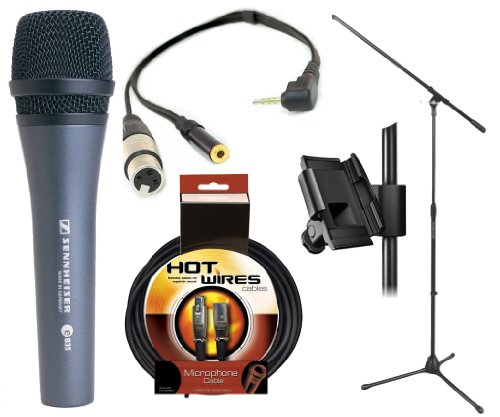 Sennheiser E835 - Cardioid Handheld Dynamic Microphone With Xlr Jack To Iphone, Ipad2, Ipod Touch And Other Compatible Device For Professional Recording, With A 3.5Mm Mini Jack For Headphones & Iklip Mini - Universal Microphone Stand Adapter & On Stage St