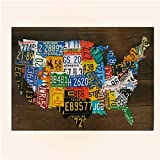 USA License Plate Map Print Wood Frame Wall Decor NEW