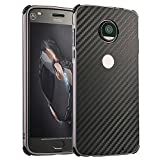 Moto Z2 Play Case, ZLDECO Stylish Edge Shockproof Metal Frame + Carbon Fiber Back Bumper Cover with 1 Tempered Glass Screen protector Protective for MoTo Z2 Play /MOTO Z2 Force Smartphone (Black) (Color: Black)