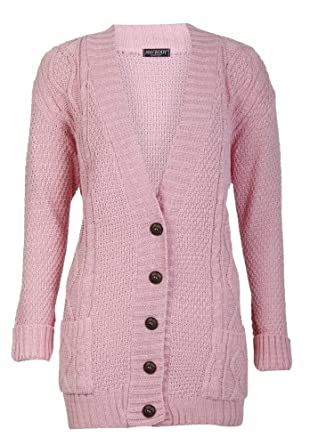 Aislinn Womens Cable Knitted Grandad Button Cardigan One Size (UK Fits