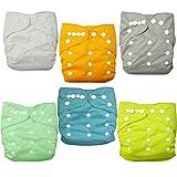 Alva baby cada paquete tiene 6pcs pañal y 2 inserciones ajustado pañal reutilizables de tela (color unisex 2) 6BM98-ES