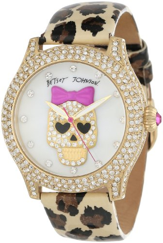 Betsey Johnson Women's BJ00019-25 Analog Skull Dial and Leopard Printed Strap Watch