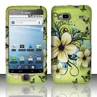 Green Hawaiian Flower Black Butterfly Design Rubberized Snap on Hard Shell Cover Protector Faceplate Cell Phone Case for T-Mobile G2 Google / HTC Vanguard / HTC DesireZ + LCD Screen Guard Film (Free Wrist Band)