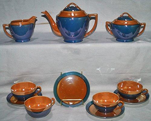 Meito Japan 13 Piece Lusterware Tea Set: Tea Pot, Cream, Sugar and 4 Cups with Saucers Meito China Japan