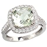 14k White Gold ( 9 mm ) Halo Engagement Green Amethyst Ring w/ 0.493 Carat Brilliant Cut Diamonds & 2.40 Carats Cushion Cut Stone, 9/16 in. (14mm) wide
