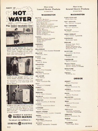 """1953 General Electric Ad """"Hot Water"""""""