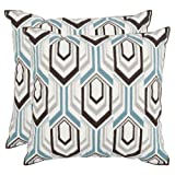 Safavieh Pillows Collection Indie Decorative Pillow, 18-Inch, Brown and Grey, Set of 2