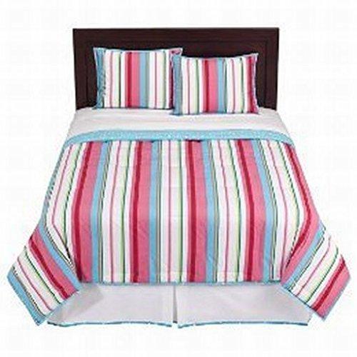 Home Queen Bed Comforter Set Colorful Stripe Shams Bedskirt Reversible Blue Dots front-820778