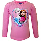 Official Disney Frozen Girls Tops Sisters Anna Elsa Long Sleeve T Shirt Kids Top | Main Picture to Illustrate Different Styles