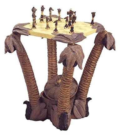 Palm Tree Chess Table with Animal Figurine Chess Pieces
