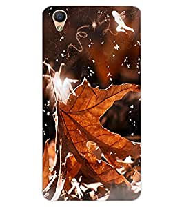 ColourCraft Beautiful Leaf Design Back Case Cover for OPPO F1 PLUS