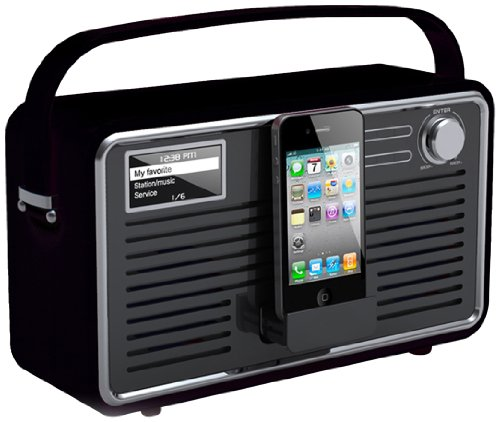 View Quest RETROWF-BK/G Retro Internet Radio (Wifi, DAB, DAB+ and FM) with iPhone and iPod Speaker - Black/Grey
