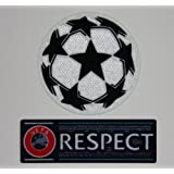 Uefa Champions League Iron-On Soccer Patch and Respect Iron-On Patch (Color: Mix, Tamaño: Standard)