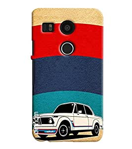 Omnam Painted Car In Stripes Printed Designer Back Cover Case For LG Nexus 5 X