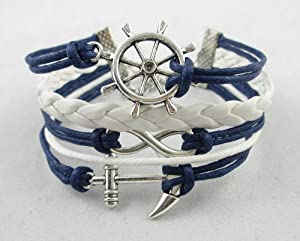 MBOX Blue Rudder Anchor Leather Rope Bracelet Nautical Vintage Silver Infinite Style