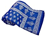 Shop Rajasthan Royal Blue Reversible Hand Block Gold Print Cotton Traditional Double Bed Quilt