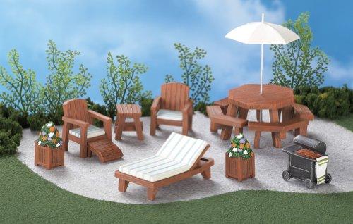 Wooden Mini Fairy Garden Patio Furniture Set Of 8