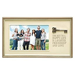 Grasslands Road Key to Happy Life Ceramic Frame, Antique White, 4 by 6-Inch by Grasslands Road
