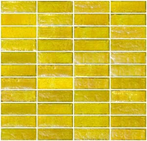 yellow iridescent glass subway tile reset in stacked layout amazon