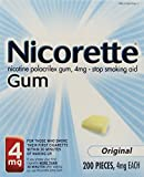 Nicorette Original Nicotine Stop Smoking OTC Gum 4mg 200 Count