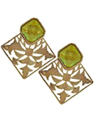 The Jewelbox Gold Plated Peridot Green Stone Filigree Stud Earring For Women
